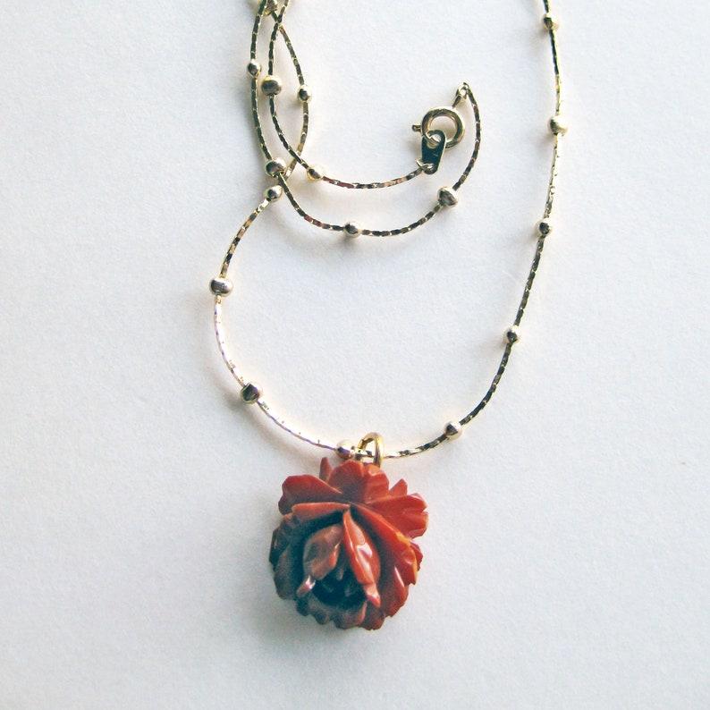 Vintage Necklace Hand Carved Flower Bakelite Rose Pendant on Gold-tone Chain