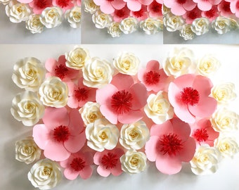 Cherry Blossom and rose paper flower backdrop