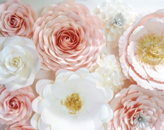 sweet blush pink gold paper flower backdrop