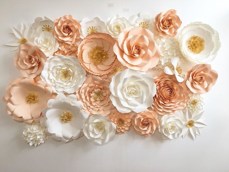 Blush Pink And Gold Paper Flower Backdrop