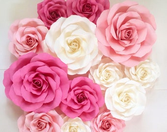 sweet pink paper roses backdrop