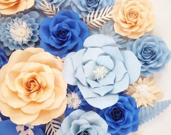 Sweet baby blue paper flower backdrop