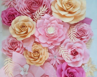 Sweet pink paper flower backdrop