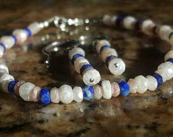 Natural White and Pink Sapphire Gemstone bracelet and earring set with Lapis Lazuli accent gemstones and Sterling Silver findings.