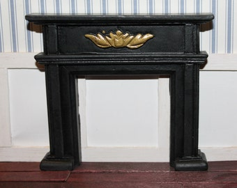 DOLLHOUSE MINIATURE Federation Fireplace Black With Gold Detail