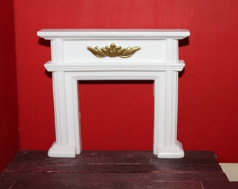 DOLLHOUSE MINIATURE Federation Fireplace White With Gold Detail