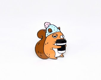 squirrel enamel pin, coffee addict squirrel pin, coffee enamel pin, cute squirrel pin, woodland animal pin, cute pin for squirrel lovers