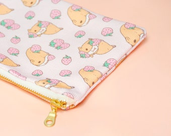 Strawberry and Guinea Pig Pattern Zipper Pencil Case, Guinea pig lover gift, Pink pencil case, Guinea pig bag, Guinea pig lover gift