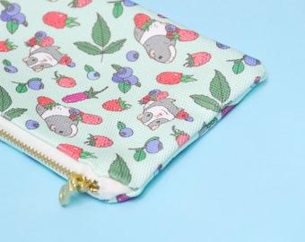 Guinea pig pencil case, Guinea pig pencil pouch, Guinea pig zipper pouch, mint zipper pouch, kawaii pencil case, zipper pencil case