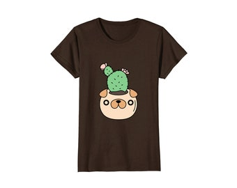 Pug Planter and Cactus T-shirt for women, cute pug shirt for women, pug lover gift for her