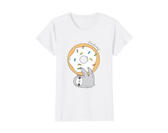 Cute sloth shirt for women, sloth lover gift, sloth and donut t-shirt