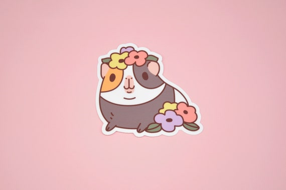 Peach and Guinea Pig Vinyl Sticker for Laptop and Water Bottles