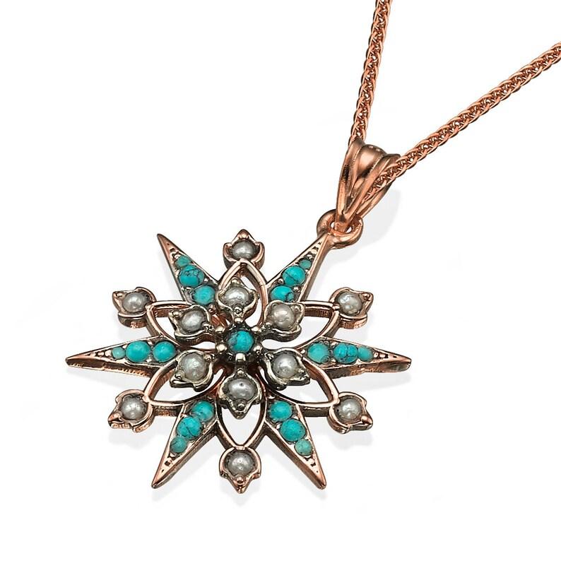 Solid 14k Rose Gold Diamond-Accented Heart Filigree-Style Hamsa Charm Pendant