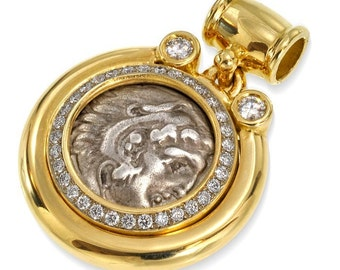 Alexander the Great Coin 18k Solid Gold Diamond Pendant, Ancient Coin Pendant, Authentic Alexander Coin, Heavy 18k Yellow Gold Pendant