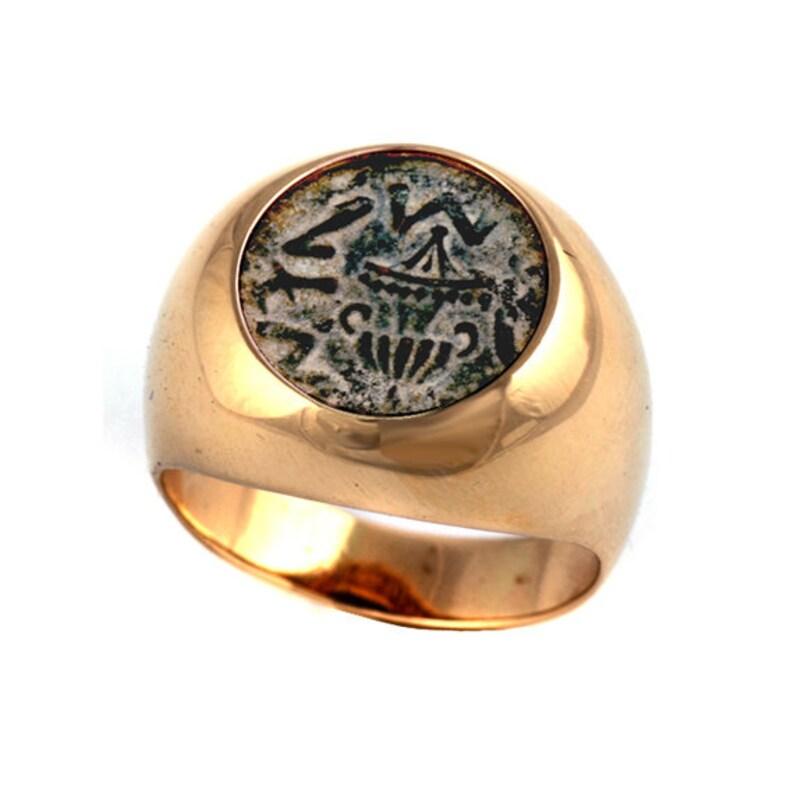 0ba7c9ed19b3e Ancient Masada Coin 14k Gold Ring, Signet Ring for Men, Ancient Coin Ring,  Collectible Ring, Ancient Israel Coin Ring, Jewish Ring