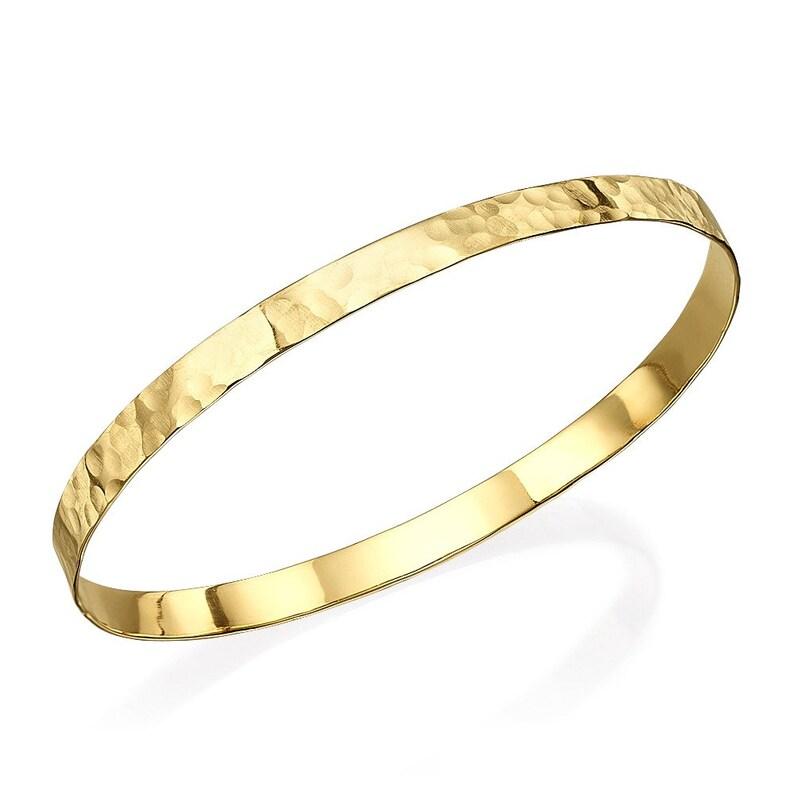 2804014d0 Hammered Gold Bangle Solid 14k Gold Moroccan Bangle Bracelet   Etsy