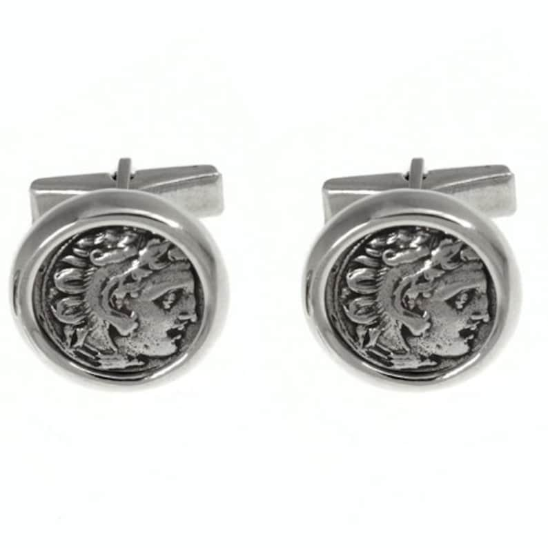 Ancient Coin Jewelry Sterling Silver Cufflinks Men/'s Gift Alexander Coin Cufflinks Alexander the Great Replica Coins Round Cuff Links