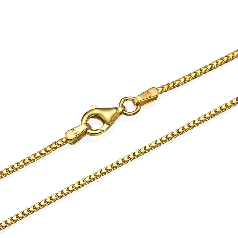 ef21e2228921c 14k Gold Franco Chain 1.2mm, 14k Yellow Gold Franco Chain, Solid Gold  Necklace Chain, Made in Italy, 16