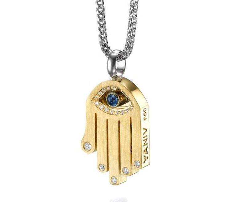 Available in Solid 14K Yellow or White Gold or in Sterling Silver Hamsa Pendant W// Chai Symbol
