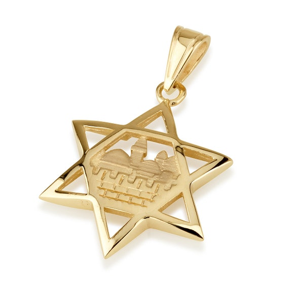 Beautiful Yellow gold 14K 14k Solid Polished Star of David Charm