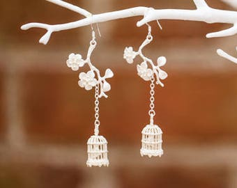 Birdcage Earrings on Cherry Blossom Branch