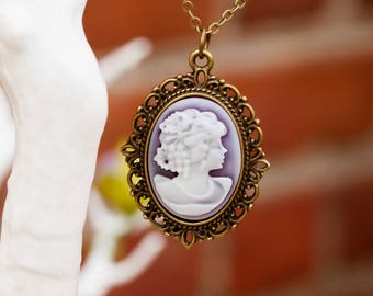Purple Lady Cameo Necklace (The Katherine)