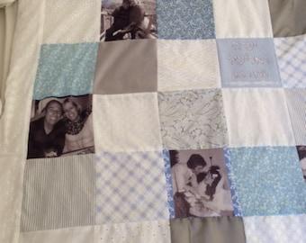 Christmas gift for newlyweds.Wedding Photo Quilt.Wedding Picture Quilt. Custom Photo Gift for Wife Photo Throw Blanket.lifetime memories.