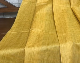 50% OFF Yellow Gold Mulberry Tussar Handloom Silk Fabric, Dress Costume Apparel Wedding, Pure Indian Silk, Fabric By Meter TSF33