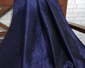 SALE 30 Brocade Fabric, Indian Silk brocade Navy Blue fabric, Dress fabric,Fancy fabric,Floral Design,Indian Brocade fabric by yard NFAF147