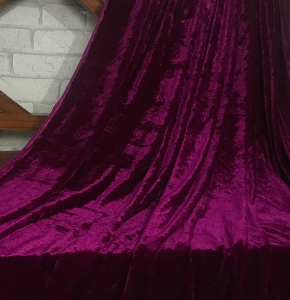 EMBOSSED FLORAL STRETCH VELVET-BURGUNDY-DRESS//CRAFT FABRIC-FREE P/&P UK ONLY