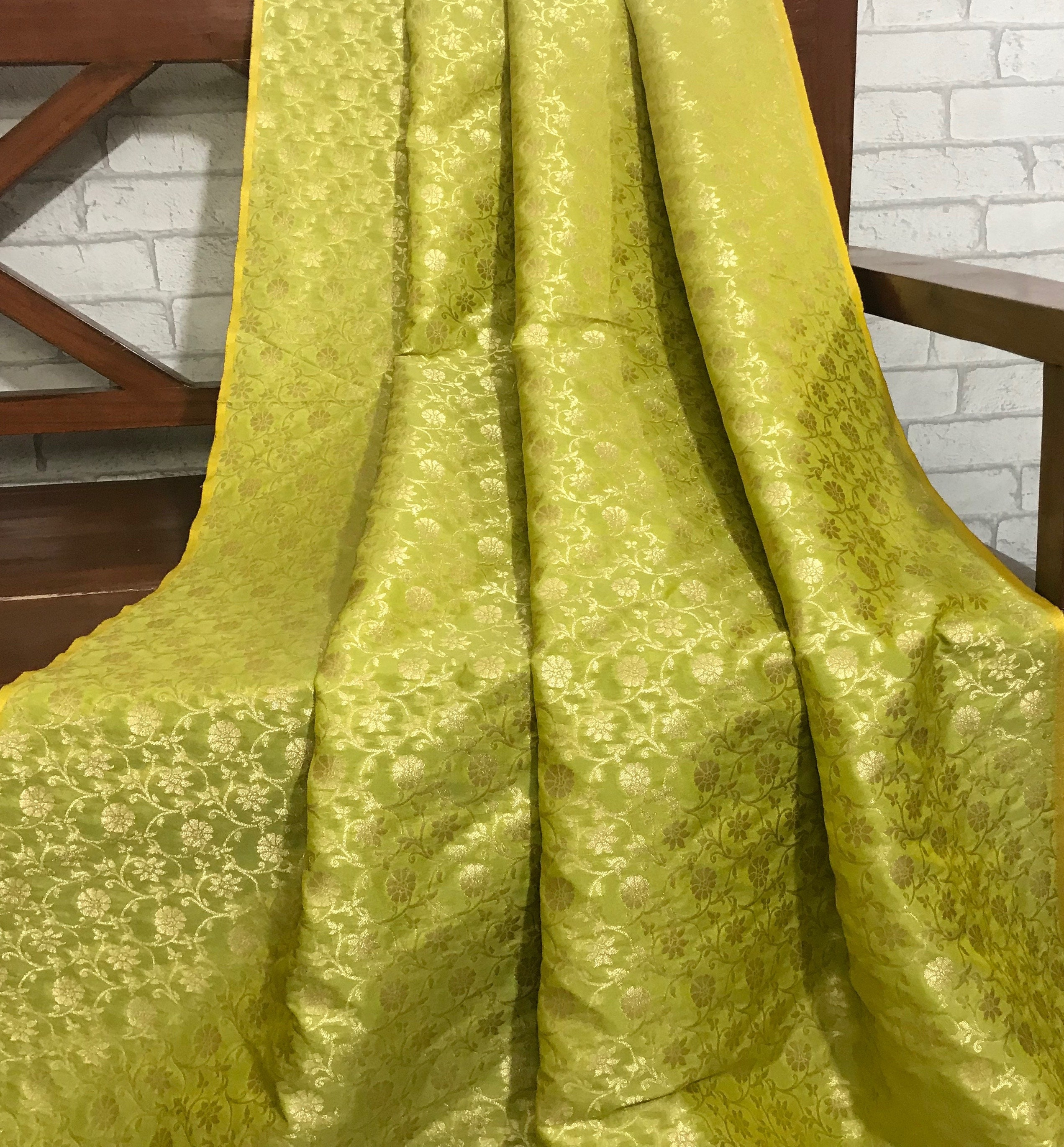 40% SALE Indian Pure Silk Brocade Fabric Lime Green and Gold Fabric,Wedding Indian brocade,Brocade by yard, dress fabric NFAF279