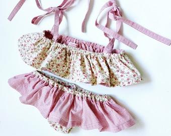 Girl swimsuit - girl cotton bikini - cotton child beachwear - retro bikini for little girl