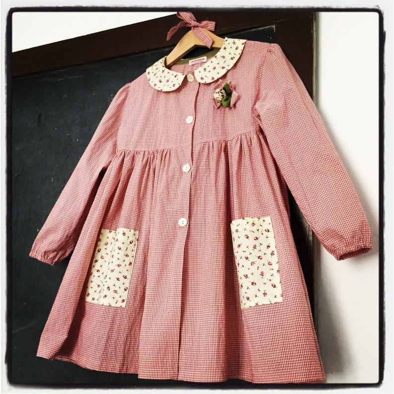 kindergarten smock - school apron - pink smock dress - baby smock - free  time apron - gingham smock