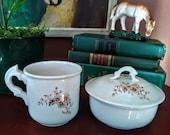 Brown Transferware Shaving Set Soap Dish and Mug England