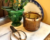 BOHO Hanging Amber Glass Planter with Copper Holder and Gold Chain