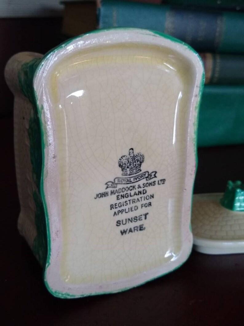 RARE English Maddock Sunset Ware Cottage Ware Sugar Box with Lid Silver Trim