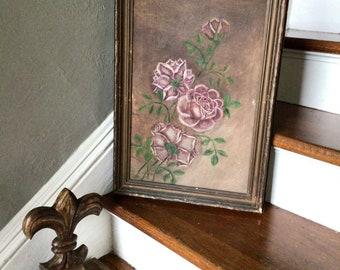 Framed Original Painting        Antique Dark Floral Beauty!