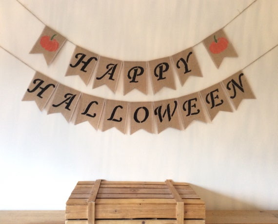 Halloween Boo Bunting Banner Hessian Burlap
