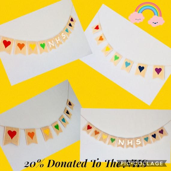 NHS Rainbow Window Bunting Banner Hearts Hessian Burlap