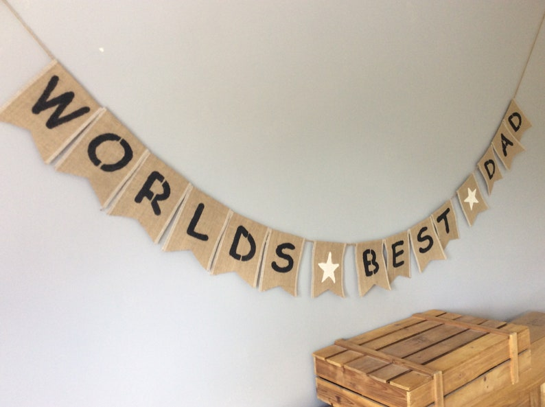 Fathers Day Dad Birthday Hessian Bunting Banner Burlap Rustic