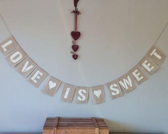 Vintage Wedding Bunting LOVE IS SWEET Candy Cart