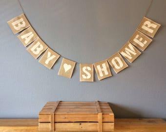 Baby Shower Bunting Banner. Vintabe Hessian Burlap