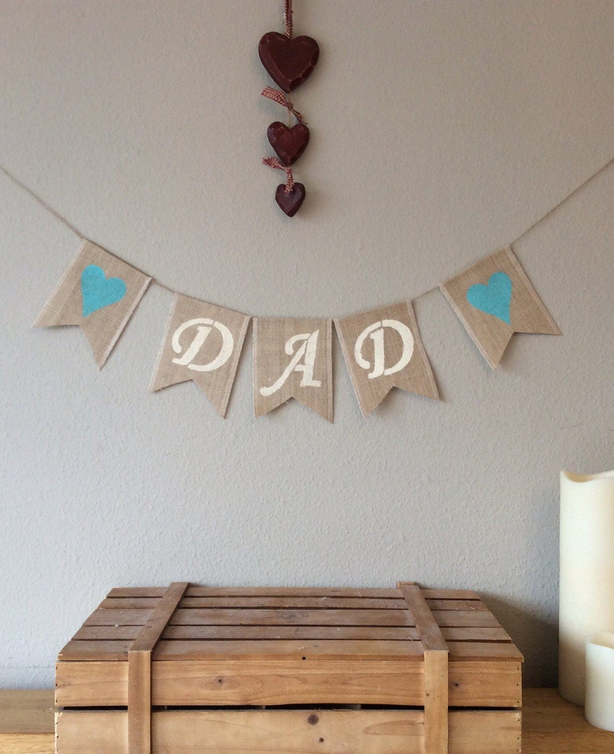 Fathers Day Dad Birthday Hessian Bunting Banner Burlap