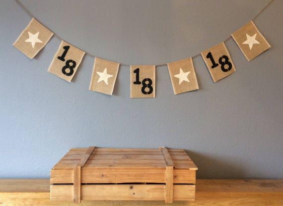 18th Birthday Bunting Banner Vintage Hessian Burlap