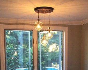 Modern Wood Chandelier   Farmhouse Lighting   Dining Room Lighting   Industrial Chandelier   Whisk Chandelier  Kitchen Lighting