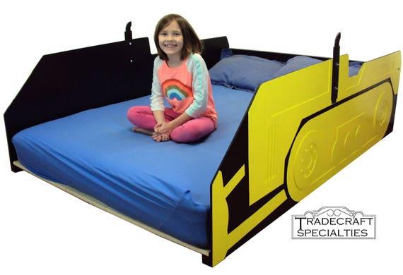 bulldozer full kids bed frame handcrafted children 39 s etsy. Black Bedroom Furniture Sets. Home Design Ideas