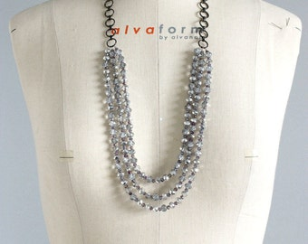 Multi strand crystal necklace, crystal necklace, silver statement necklace, silver necklace, necklace with chain and crystals