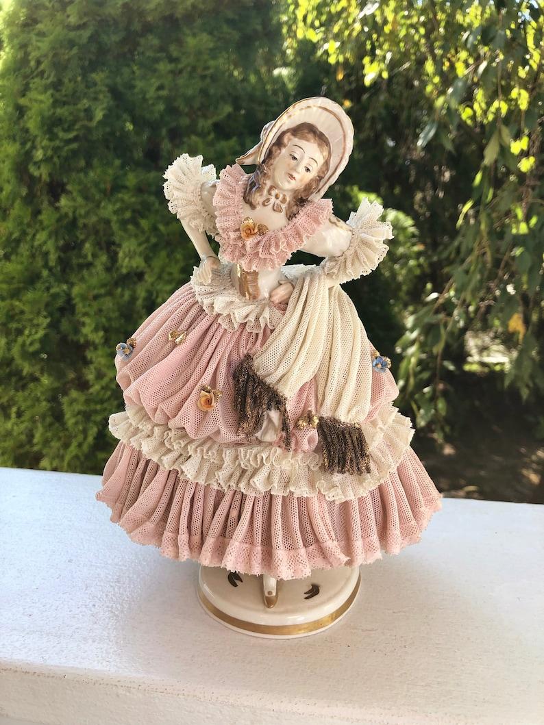 DRESDEN LACE Volkstedt Lady Dancer Large Porcelain