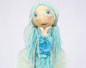 Fairy Doll Art Doll OOAK Teen Girl Gifts Paper Mache Figurine Best Friend Birthday Gift for Girl Room Decor Doll Handmade Fairy Paper Mache