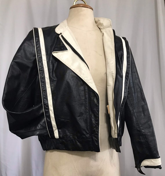 Vintage 80's black and white leather jacket